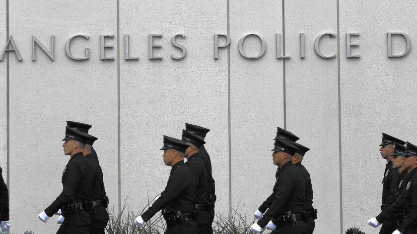 Officers in front of the Los Angles Police Department headquarters, seen in 2015.