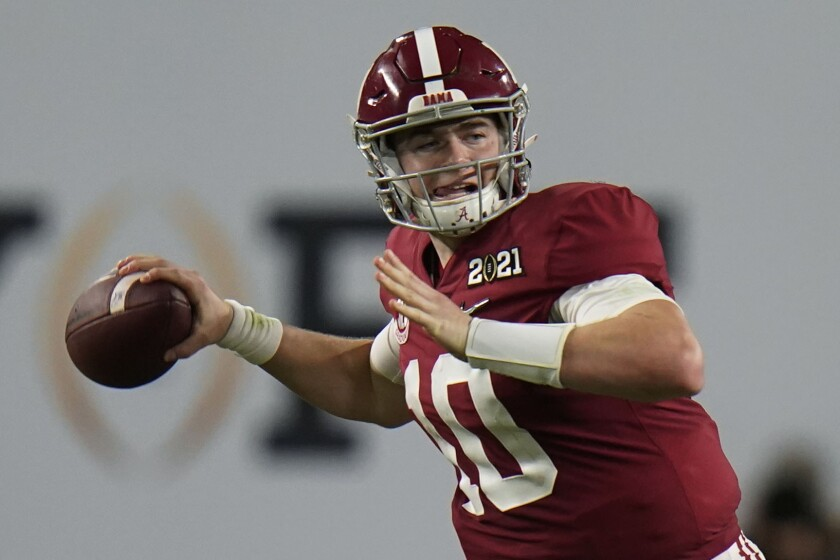 Alabama quarterback Mac Jones could go as high as No. 3 in next week's NFL Draft.