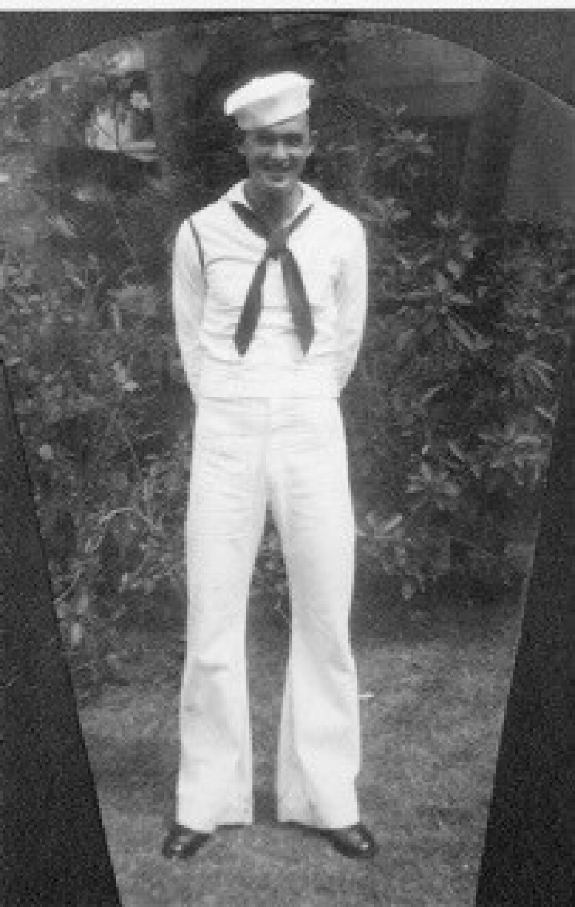This photo provided by retired U.S. Navy Cmdr. Don Long shows Long in his Navy uniform in 1941. Long