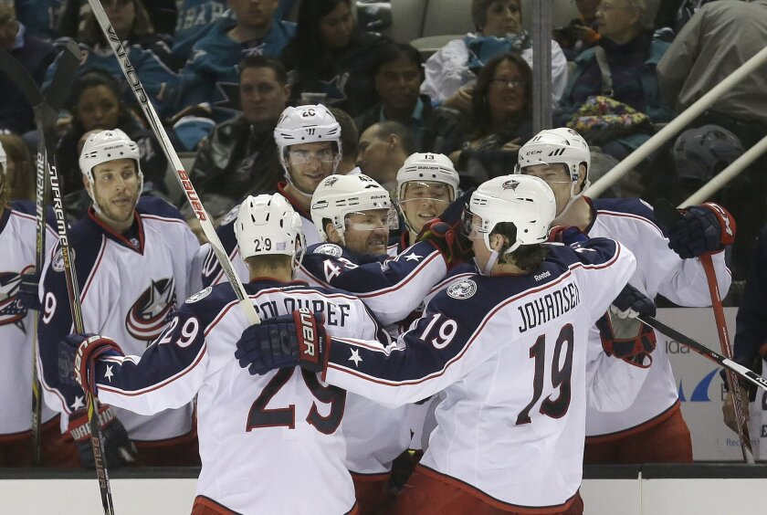 Columbus Blue Jackets left wing Scott Hartnell (43) celebrates with defenseman Cody Goloubef (29) and center Ryan Johansen (19) after scoring against the San Jose Sharks during the second period of an NHL hockey game in San Jose, Calif., Tuesday, Nov. 3, 2015. (AP Photo/Jeff Chiu)