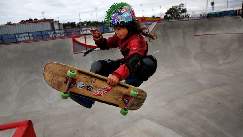 ORANGE COUNTY, CA-MAY 9, 2019: Julian Jeang-Agliardi jumps a ramp at Vans Off the Wall Skate Park on