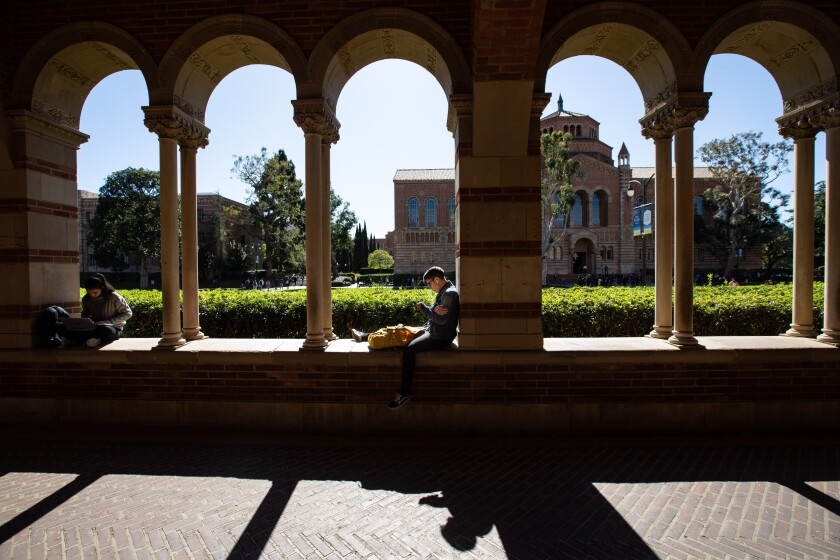 Students study on the campus of UCLA.