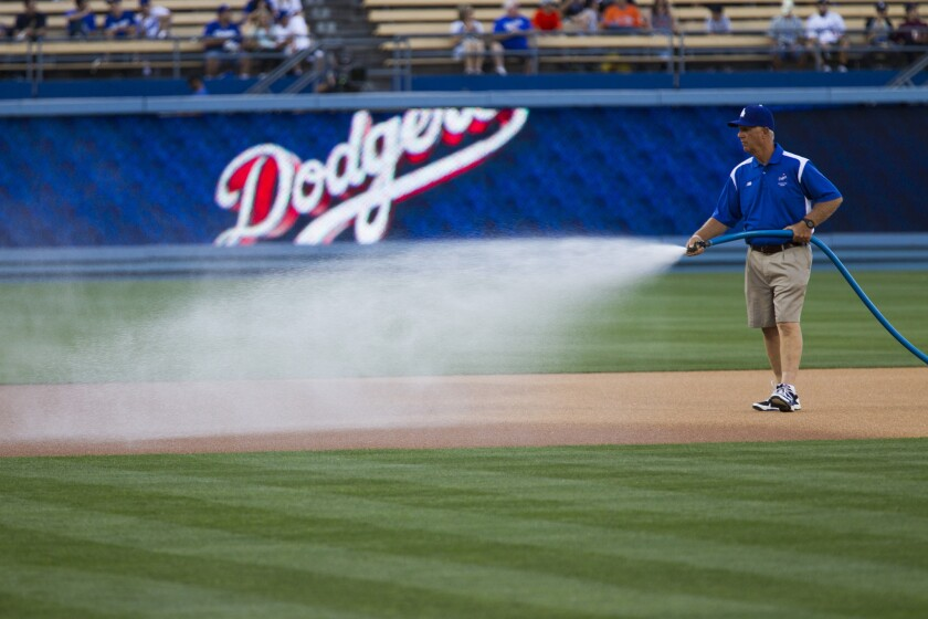 A member of the Dodger Stadium grounds crew waters the field before a game in April. New electronic sensors send real-time data -- moisture, temperature and salinity -- that tell when sprinklers have sufficiently drenched the soil.