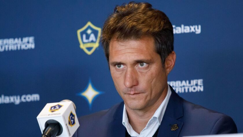 """Galaxy soccer coach Guillermo Barros Schelotto says the goal of his squad's grueling training camp """"is simply to put together a team that can get to the playoffs."""""""