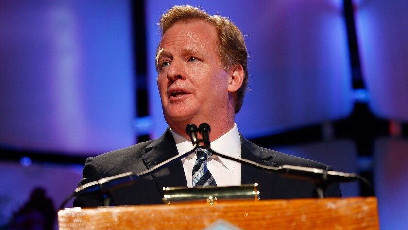 NFL Commissioner Roger Goodell speaks during the 2014 Pro Football Hall of Fame Gold Jacket dinner in Canton, Ohio, on Aug. 1.