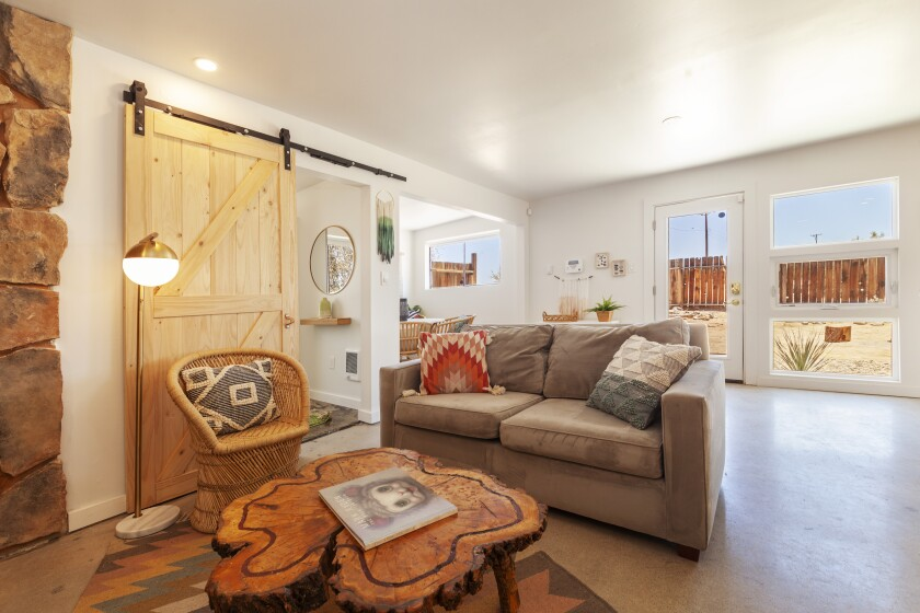 The 800-square-foot desert retreat in Joshua Tree was extensively renovated over the last year. Asking price: $265,000.
