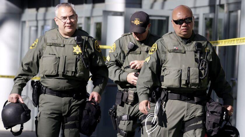 ANAHEIM CA MAY 25, 2016 -- Orange County Sheriff's deputies prepare for a Donald Trump rally Wedne