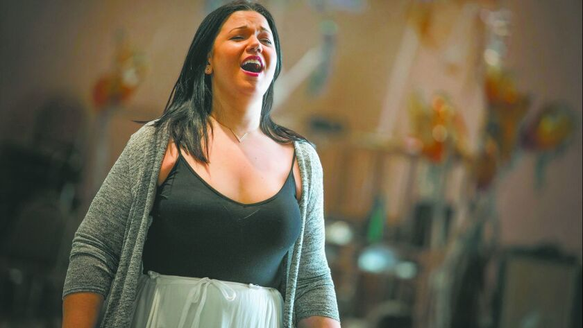 "Soprano Elaine Alvarez in rehearsal for San Diego Opera's production of Daniel Catán's ""Florencia en el Amazonas,"" which opens March 17 at the San Diego Civic Theatre."