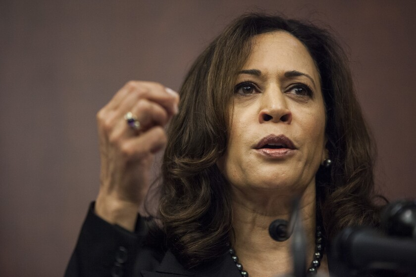 Sen. Kamala Harris (D-Calif.) speaks during a news conference on Capitol Hill on March 28.