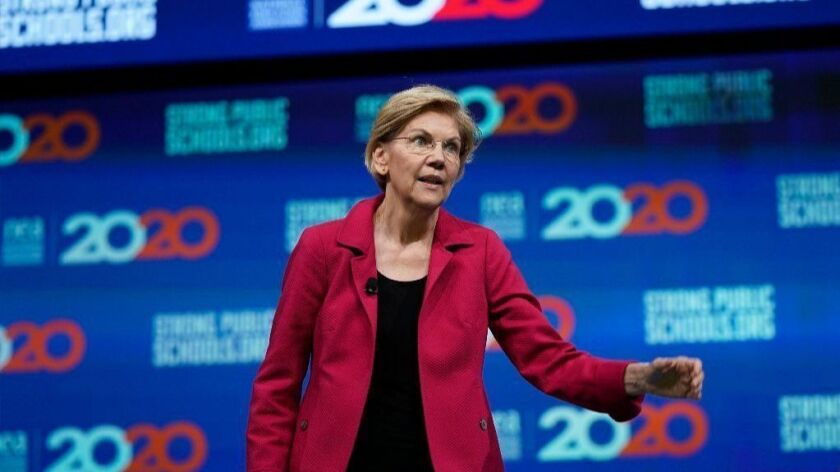 Democratic presidential candidate Sen. Elizabeth Warren (D-Mass.) speaks during the National Education Assn. Strong Public Schools Presidential Forum on Friday in Houston.