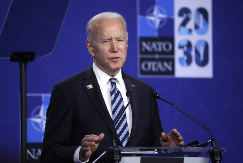 U.S. President Joe Biden speaks during a media conference during a NATO summit in Brussels