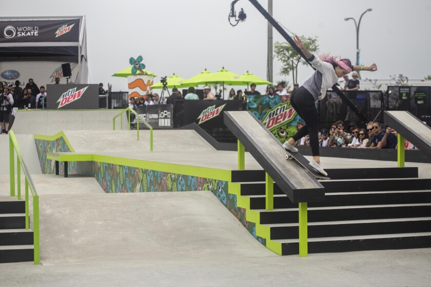 Leticia Bufoni competes in the women's street competition at the 2019 Dew Tour event in Long Beach.