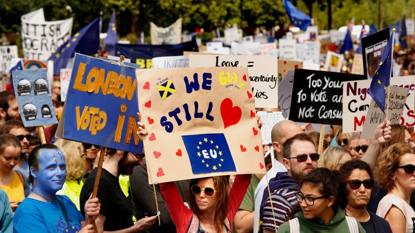 Signs were out in force during Saturday's protest in London against Brexit.