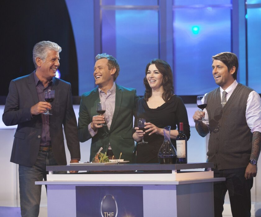 """The mentors of """"The Taste"""": Anthony Bourdain (left), Brian Malarkey, Nigella Lawson and Ludo Lefebvre. Their first season wraps up March 12."""