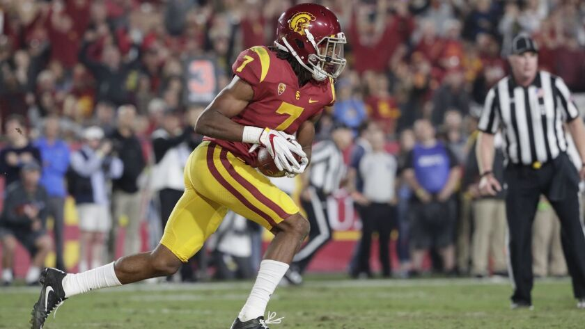 LOS ANGELES, CA, SATURDAY, NOVEMBER 18, 2017 - USC safety Marvell Tell III heads upfield after inter