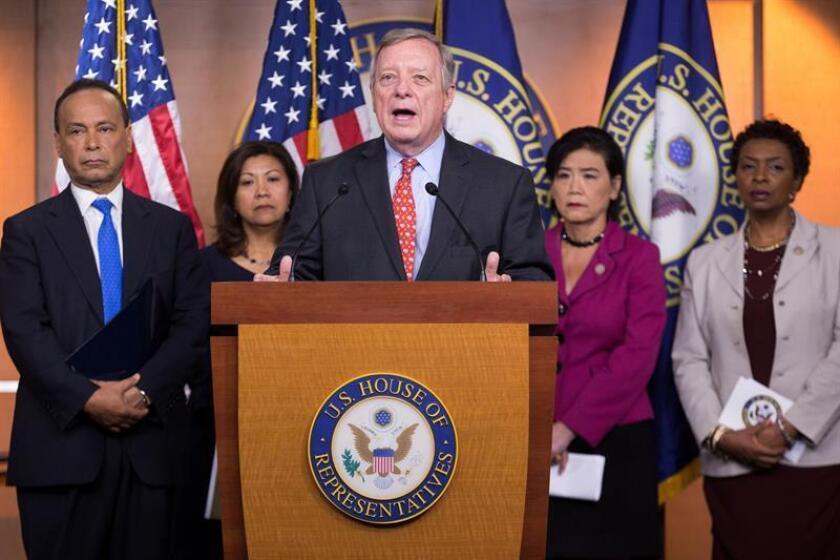 El senador demócrata por Illinois Dick Durbin ofrece una rueda de prensa en el Capitolio de Washington, EEUU, el 25 de julio del 2018. EFE