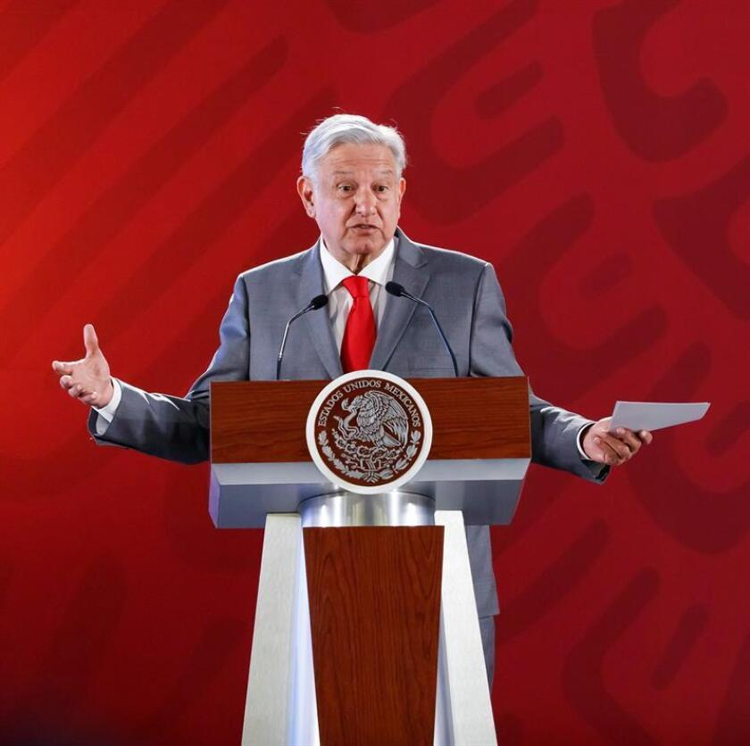 Mexican President Andres Manuel Lopez Obrador holds a press conference at the National Palace in Mexico City on Feb. 11, 2019. EFE-EPA/ Jose Mendez