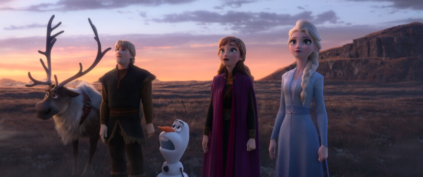 "Sven, Kristoff (voice of Jonathan Groff), Olaf (Josh Gad), Anna (Kristen Bell) and Elsa (Idina Menzel) return in the movie ""Frozen 2."""