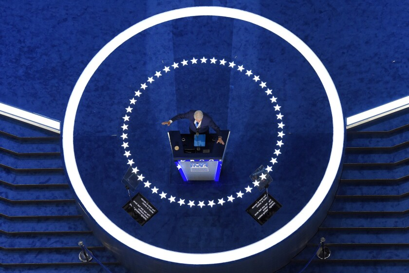Bill Clinton, center stage, at the Democratic National Convention in Philadelphia.