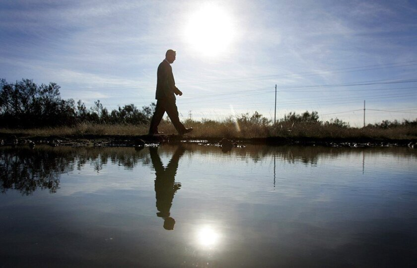 Kirk Leopard, director of the maxed-out Fort Rosecrans National Cemetery in Point Loma, passed by a vernal pool on the site of a planned cemetery annex at Miramar Marine Corps Air Station. To mitigate environmental issues, the pools and native brush will be incorporated into the design.