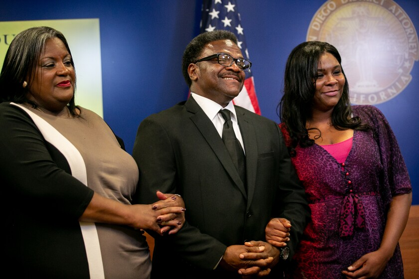 Kent Williams speaks at a news conference alongside his wife, Fay Williams, and daughter, Latrice Coleman, on Thursday in San Diego.