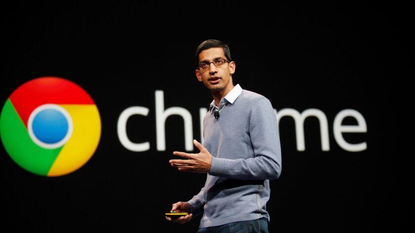 Sundar Pichai, senior vice president of Chrome, speaks at Google's annual developer conference, Goog