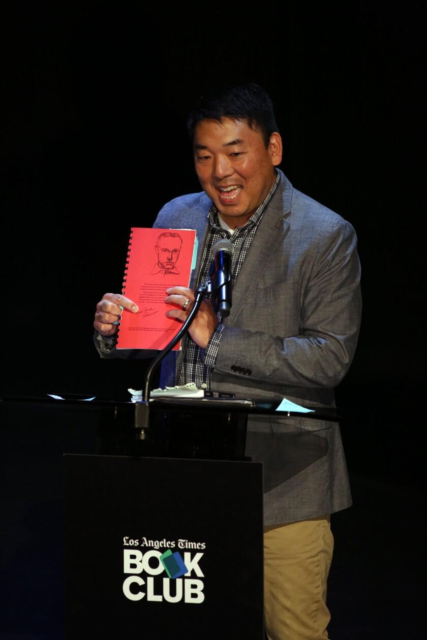 Arts editor Craig Nakano at the  Los Angeles Times Book Club.