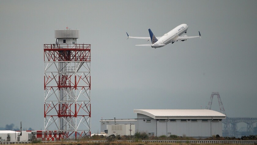 A United Airlines plane takes off from San Francisco International Airport.