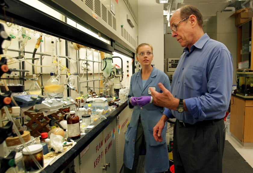 The Scripps Research Institute is home to such Nobel laureates as Barry Sharpless, shown here talking Larissa Krasnova in 2011.