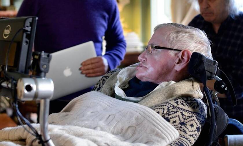 Stephen Hawking at work