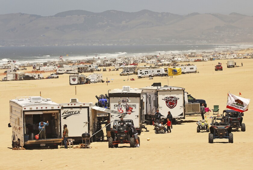 The Oceano Dunes, a few miles south of Pismo Beach off Highway 1, are a major destination for off-roaders and campers.