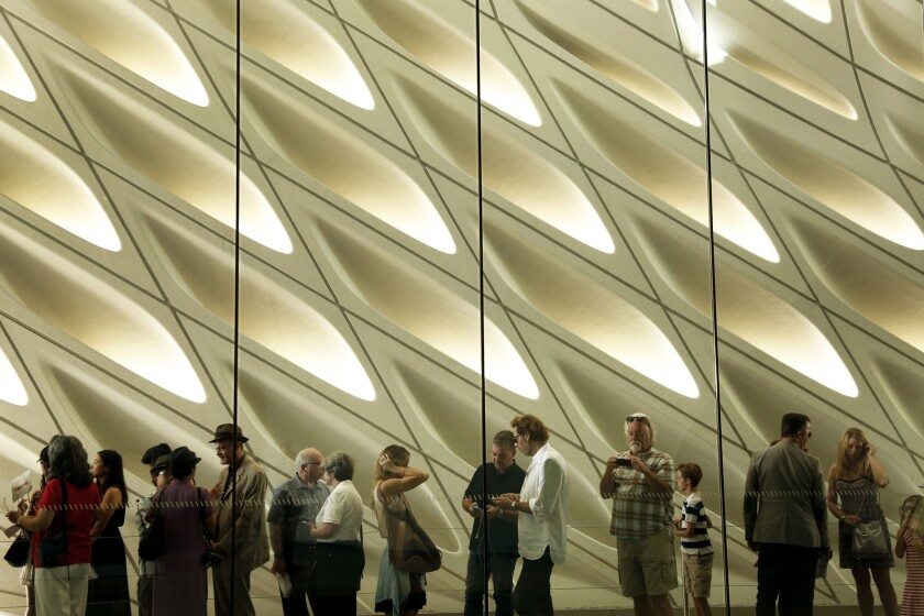 The Broad's familiar standby admission line, before coronavirus. The museum is aiming for a midsummer reopening.