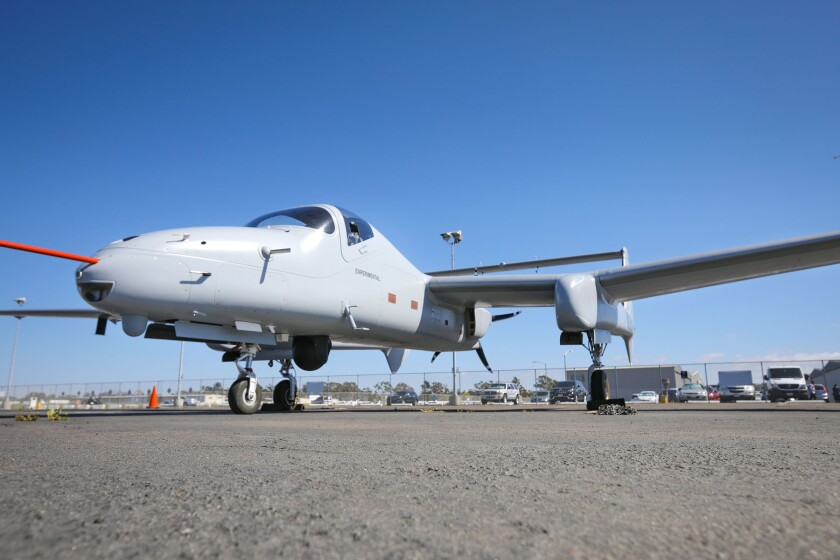 A Firebird experimental aircraft was parked at Montgomery Field in Kearny Mesa in 2019