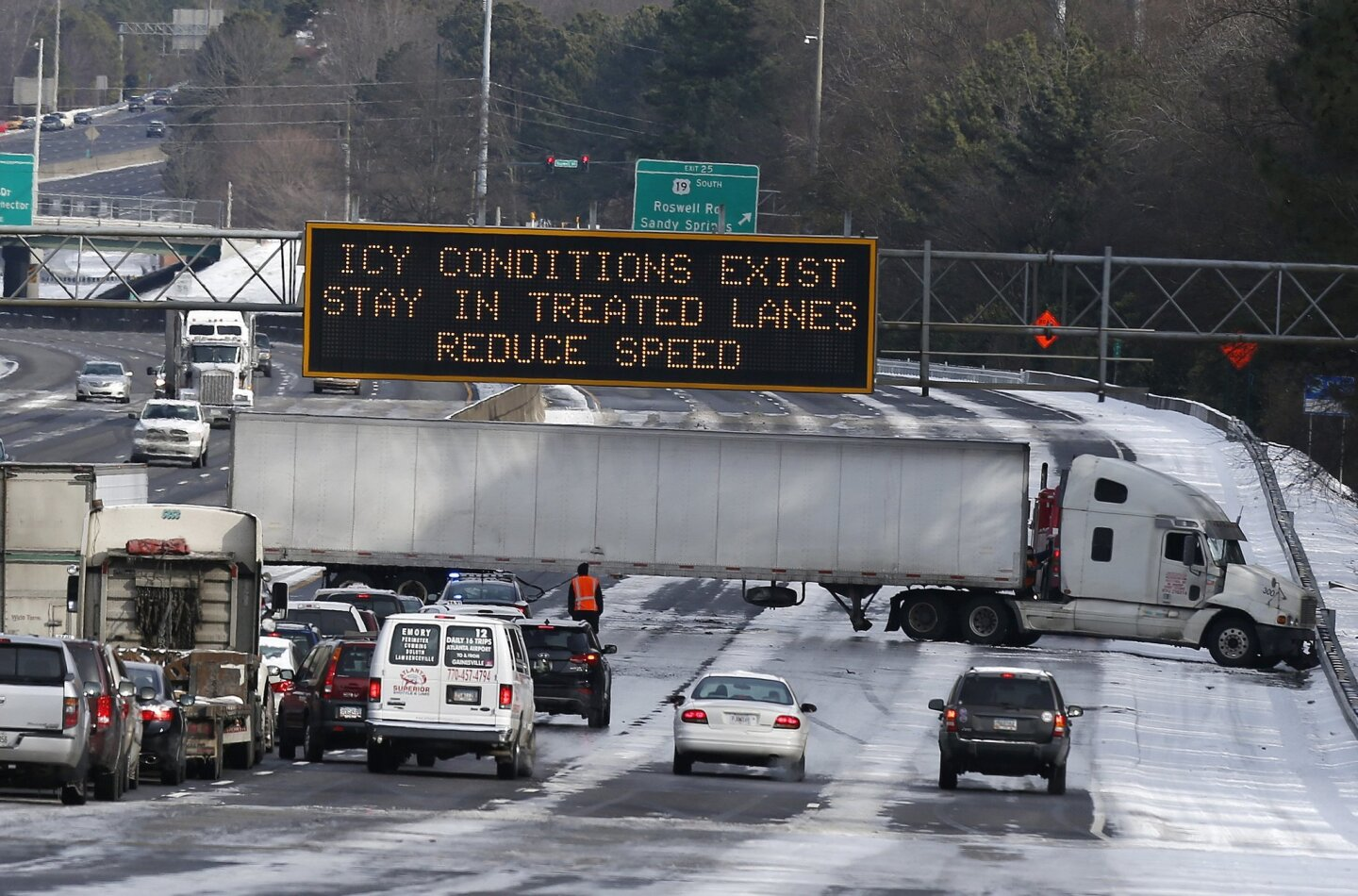 Snow and gridlock in the south