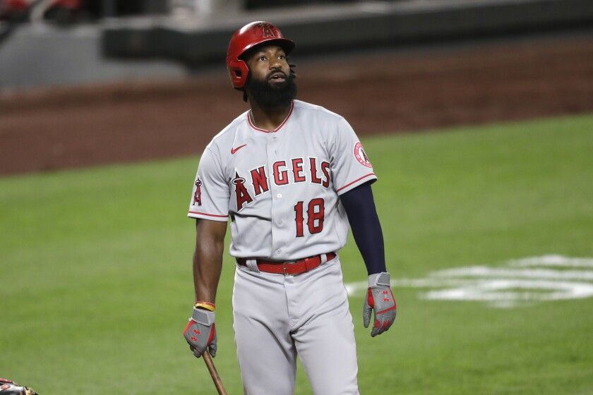 The Angels' Brian Goodwin is pictured against the Mariners on Aug. 5, 2020, in Seattle.