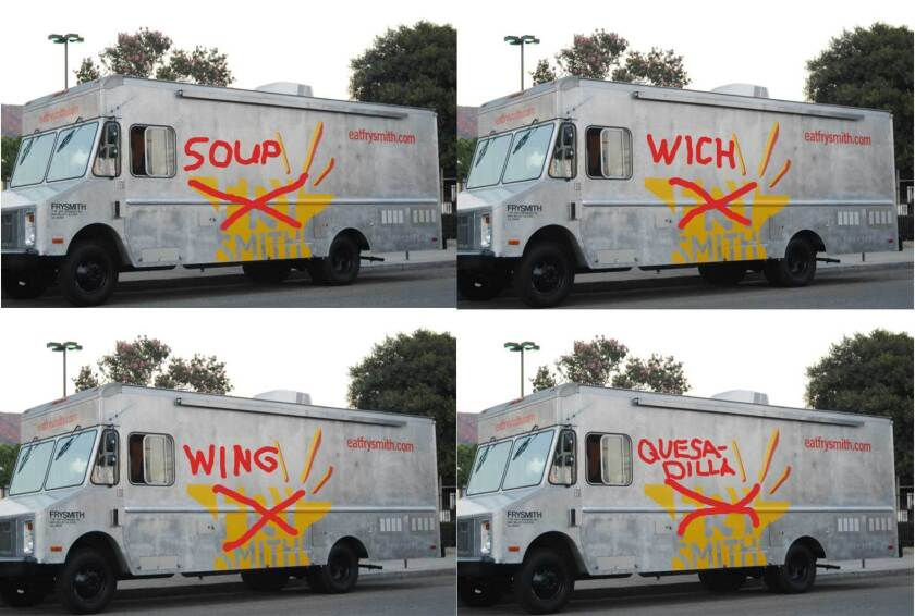 The four pop-up versions of the Frysmith truck.