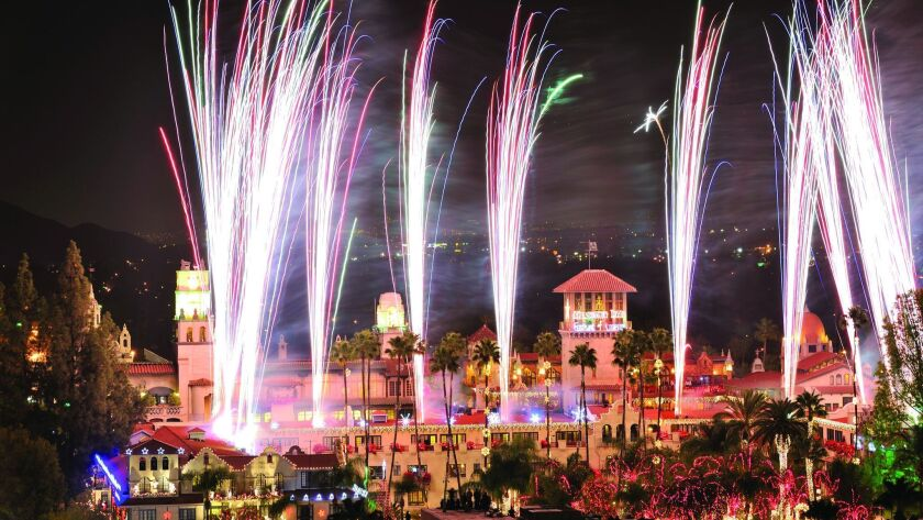 Festival of Lights fireworks at The Mission Inn & Spa. The Mission Inn Hotel & Spa in Riverside, CA