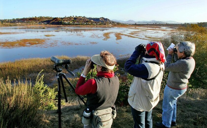Volunteer bird-watchers (from left) Jayne Lesley, Christina Espinosa and Elizabeth Venrick counted birds at San Elijo Lagoon on Monday for the San Elijo Lagoon Conservancy.