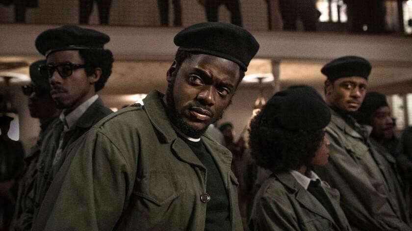 "Darrel Britt-Gibson, Daniel Kaluuya and Lakeith Stanfield in ""Judas and the Black Messiah."""