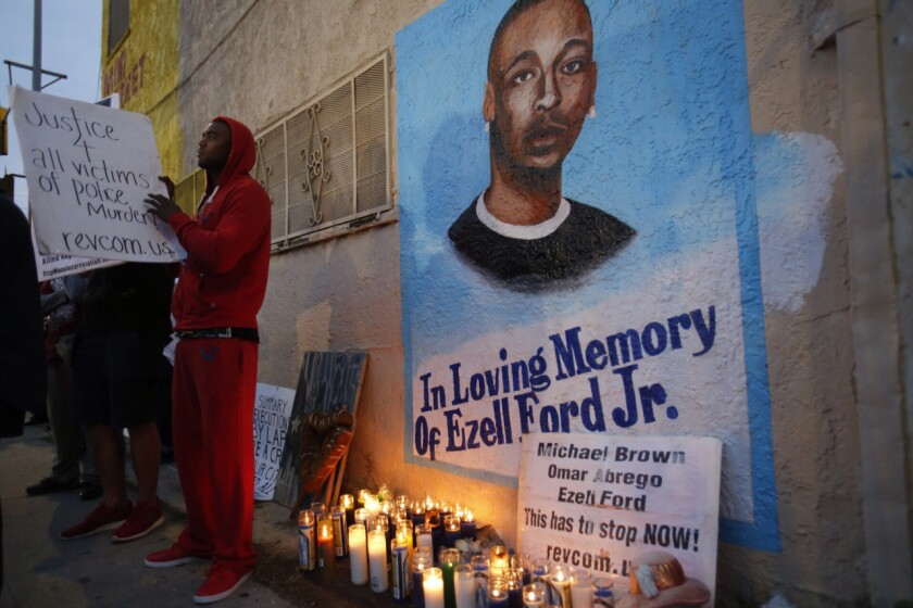 Lavell Ford, brother of Ezell Ford, at the site where his brother was killed at 65th Street and Broadway in South Los Angeles.