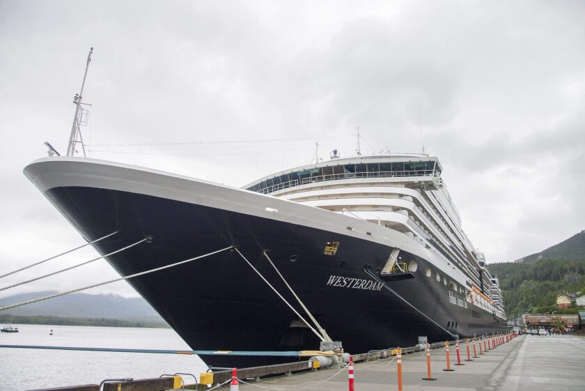 The Holland America Line cruise ship Westerdam sits in dock in Ketchikan, Alaska, on Thursday, June 25, 2015. Officials say eight passengers on an excursion off the ship and a pilot were in a plane that was found crashed against the granite rock face of a cliff about 20 miles northeast of Ketchikan