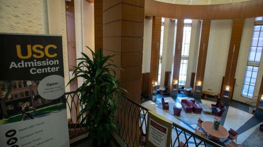 Shown is a view of the entrance to the USC Admission Center in the university's Ronald Tutor Campus Center.