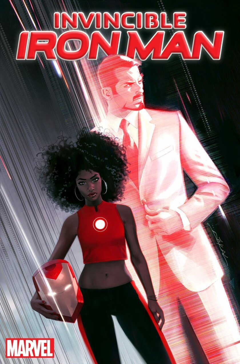 "This image released by Marvel Entertainment shows the cover of ""Invincible Ironman #1,"" featuring the character Riri Williams, a science genius, who will replace Tony Stark in the super hero role. The comic will be released in the fall. (Marvel Entertainment via AP)"