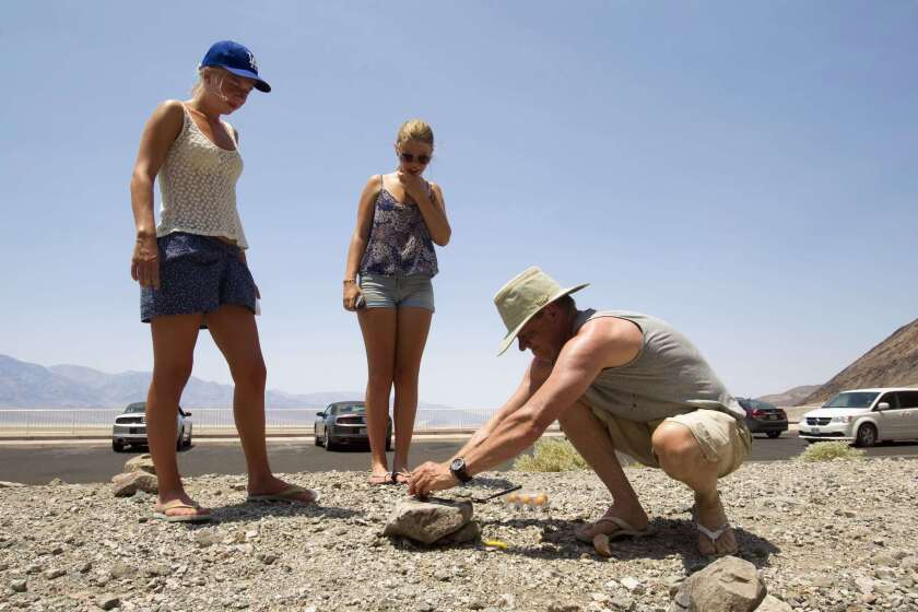 Tourists try frying egg on rock in high temperatures in Death Valley