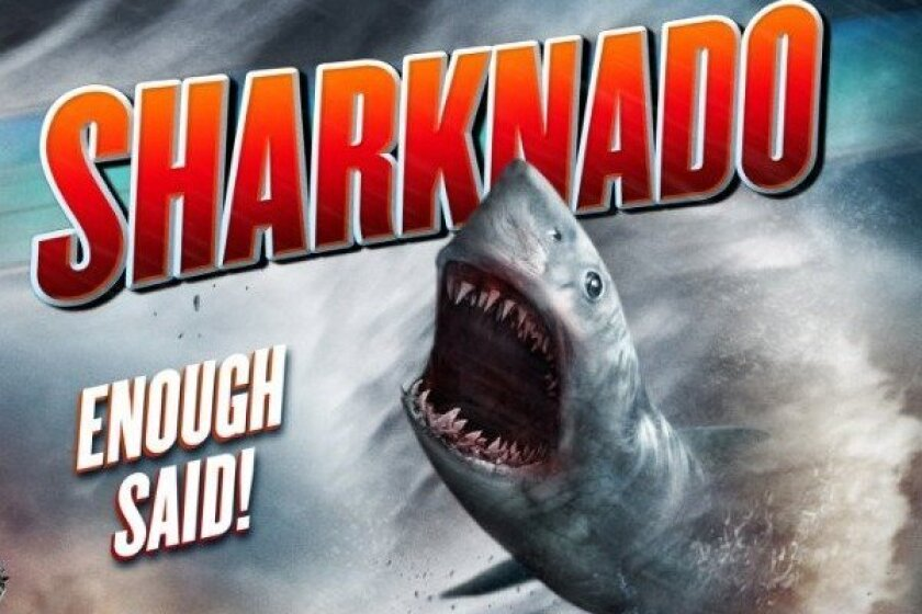"""Detail of a promotional poster for """"Sharknado."""""""