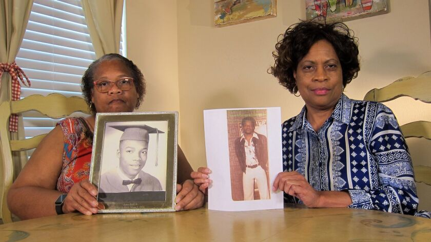 In this Wednesday, April 10, 2019, photo Mylinda Byrd Washington, 66, left, and Louvon Byrd Harris,