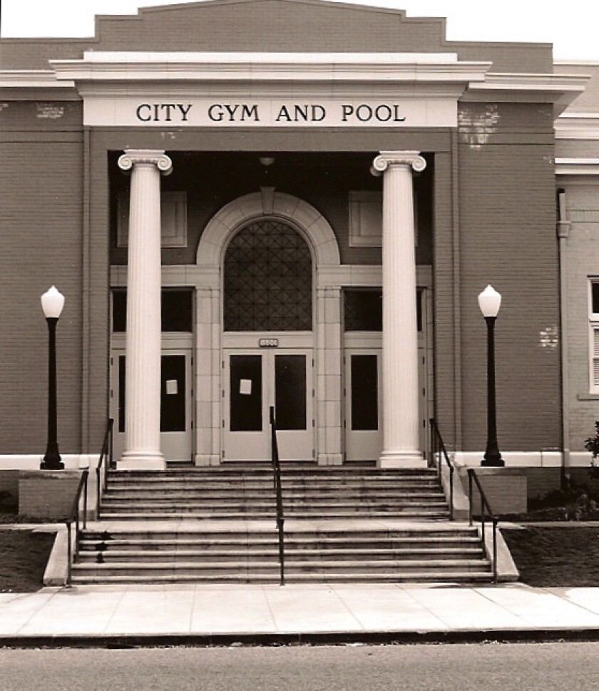 The Huntington Beach City Gym and Pool, in a 2009 photo, had been used by Naturists in the OC for seasonal gatherings. The group complains that a recent city decision requiring attendees to be clothed is discrimination.