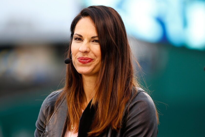 Jessica Mendoza is on set for ESPN on Oct. 26, 2015.