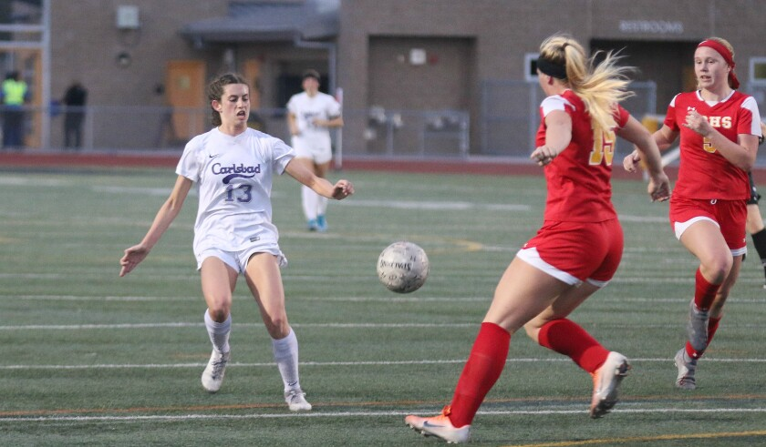 Junior Lexi Wright (13) scored Carlsbad's only goal.