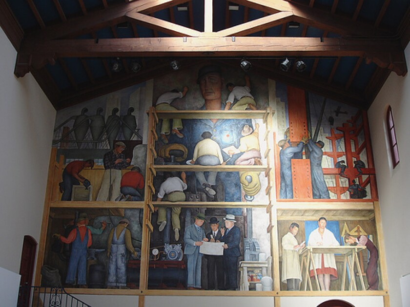"""Diego Rivera's mural """"The Making of a Fresco Showing the Building of a City"""" at San Francisco Art Institute"""